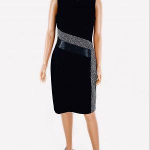 Vestido Calvin Klein cuello redondo negro y gris